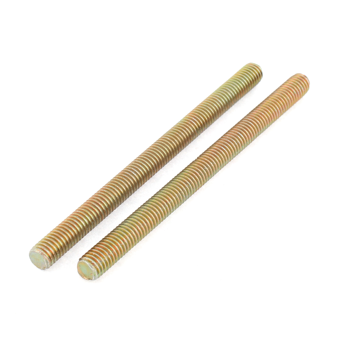 1.25mm Pitch M8 x 110mm Male Full-Threaded Rod Bar Bronze Tone 2 Pcs