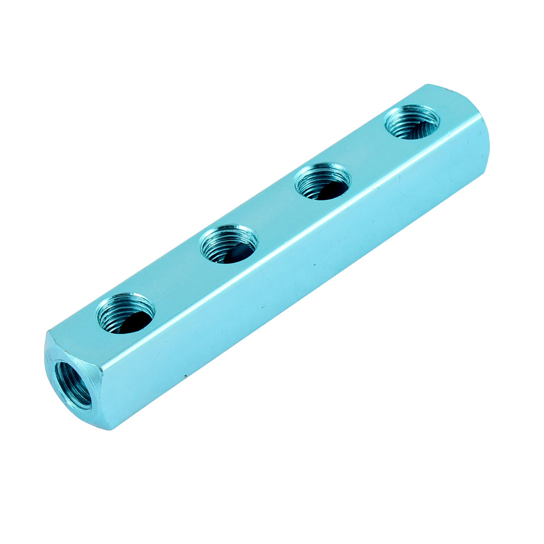 Aluminum 1/4BSP 11.5mm 4 Way Threaded Hose Pipe Inline Manifold Block Splitter Connector for Air Compressor