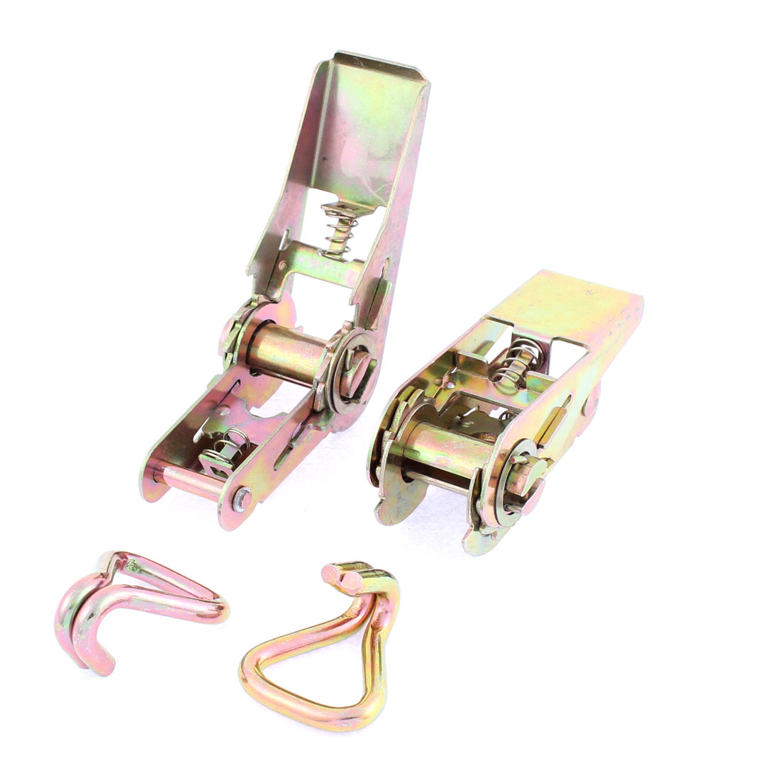 Metal Self-Securing Ratchet Strap Tensioner Tie Down w Claw Hook Bronze Tone 2 Pcs