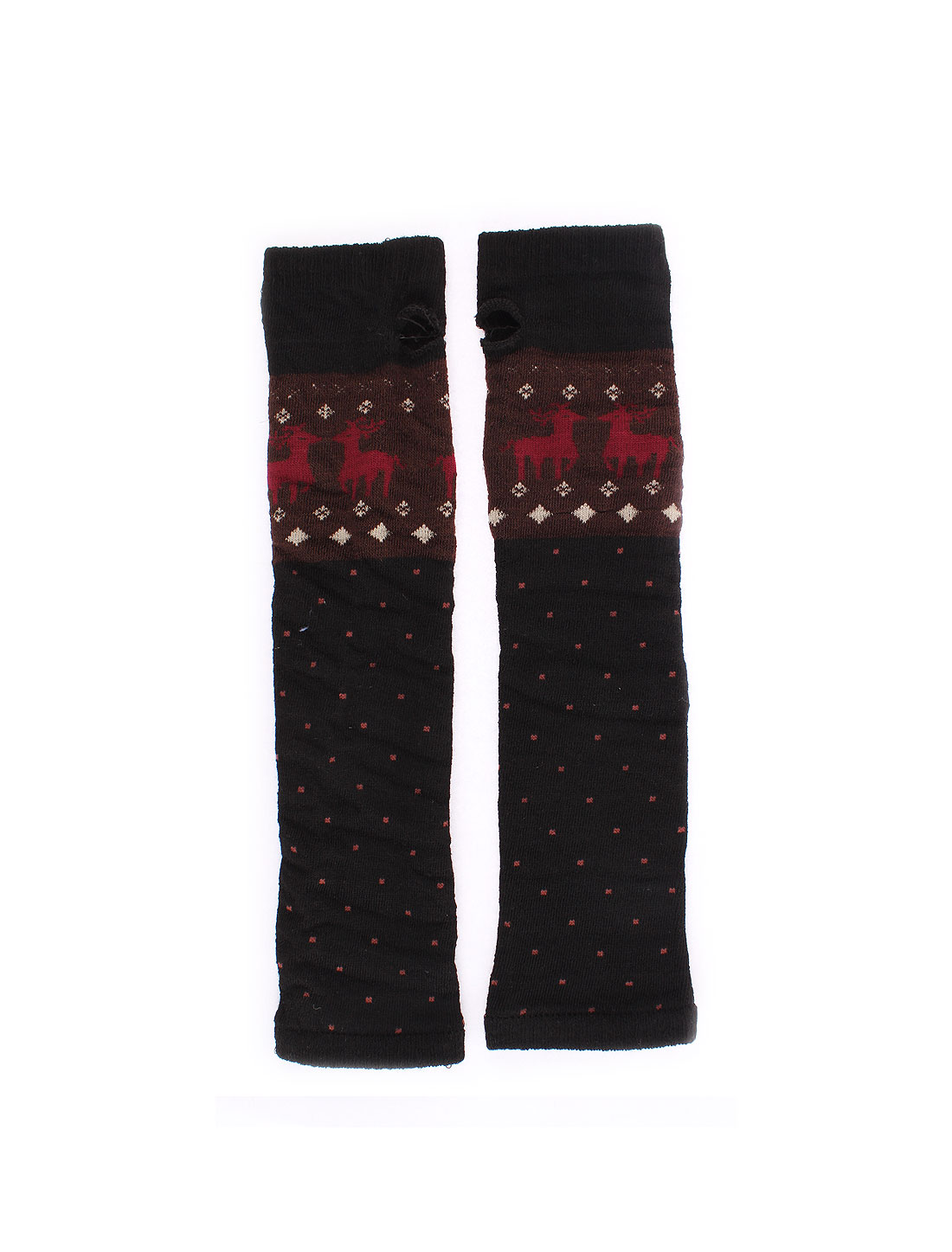 Woman Deer Pattern Stretch Wrist Arm Warmer Thumb Hole Fingerless Gloves Pair
