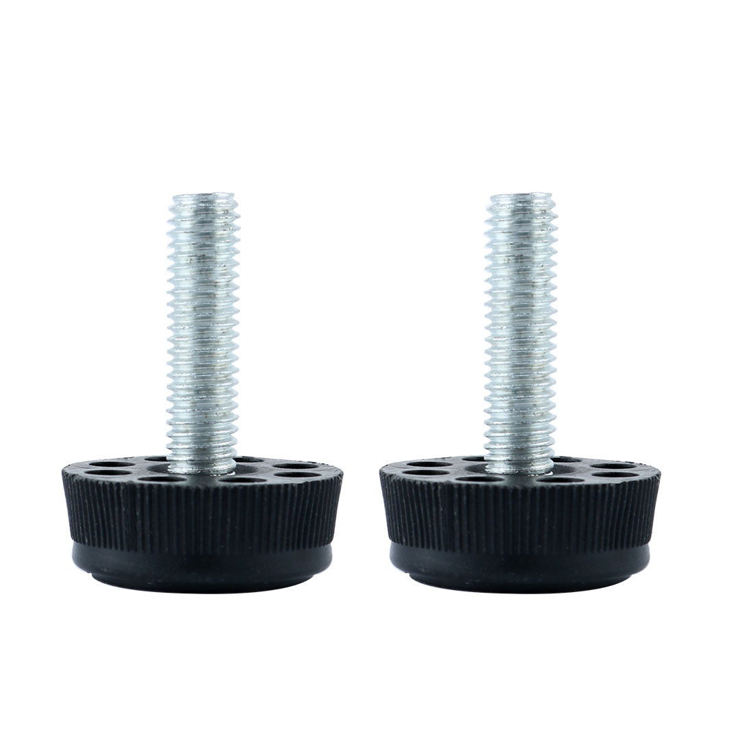 Metal Threaded Rod 8 Holes Furniture Table Chair Leg Foot Pad Black 2 Pcs