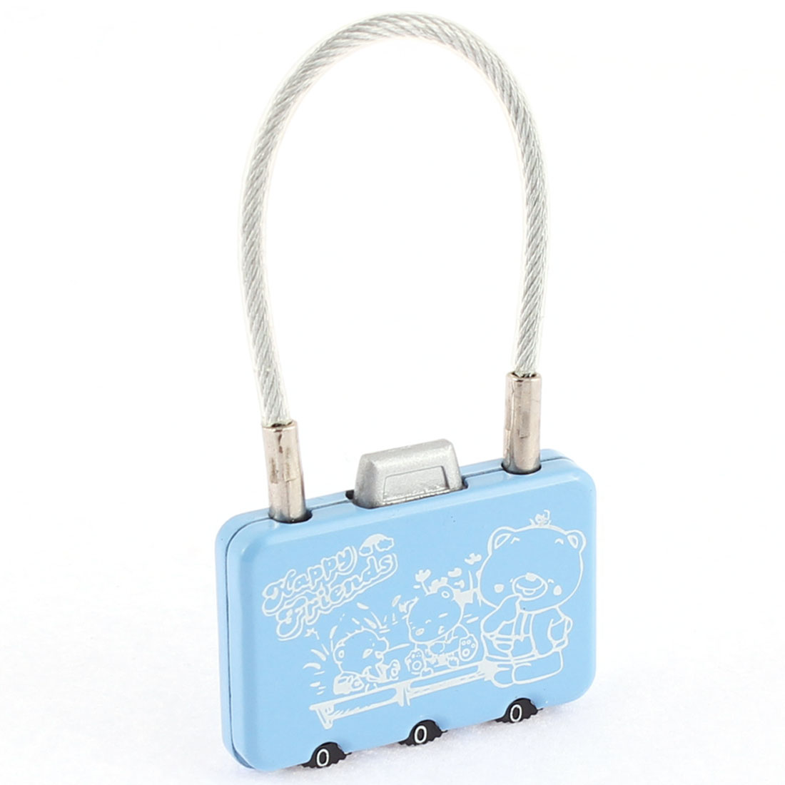 Metal Wire Hoop 3 Dials Combination Sky Blue Mini Bag Shaped Cartoon Resettable Padlock for Luggage Suitcase