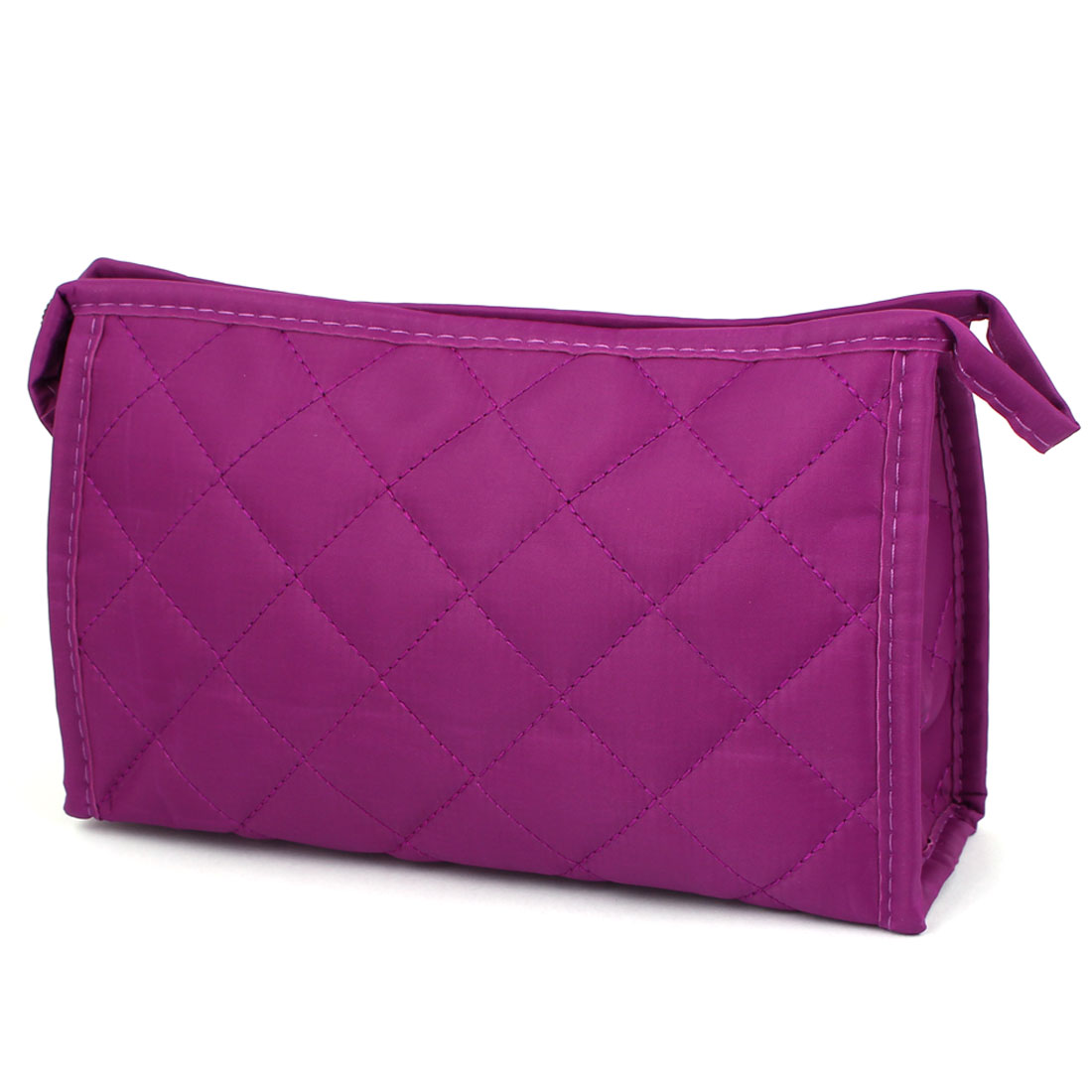 Rhombic Pattern Zipper Makeup Cosmetic Bag Case Container Purple w Mirror