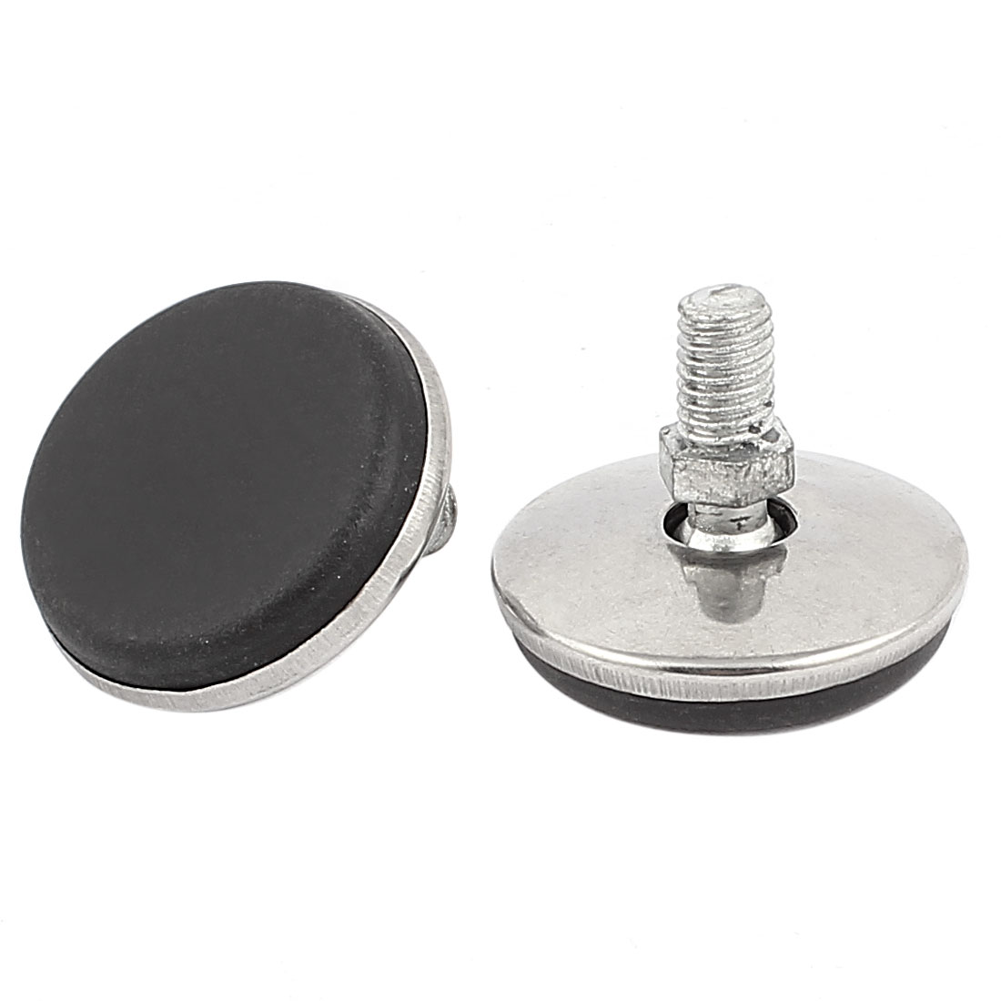 Metal Threaded Rod Round Plastic Base Leveling Foot 2 Pcs