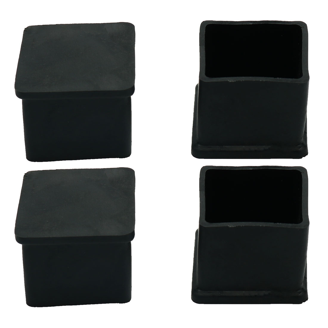 Square Chair Table Foot Leg Cover Holder Protector Black 4 Pcs