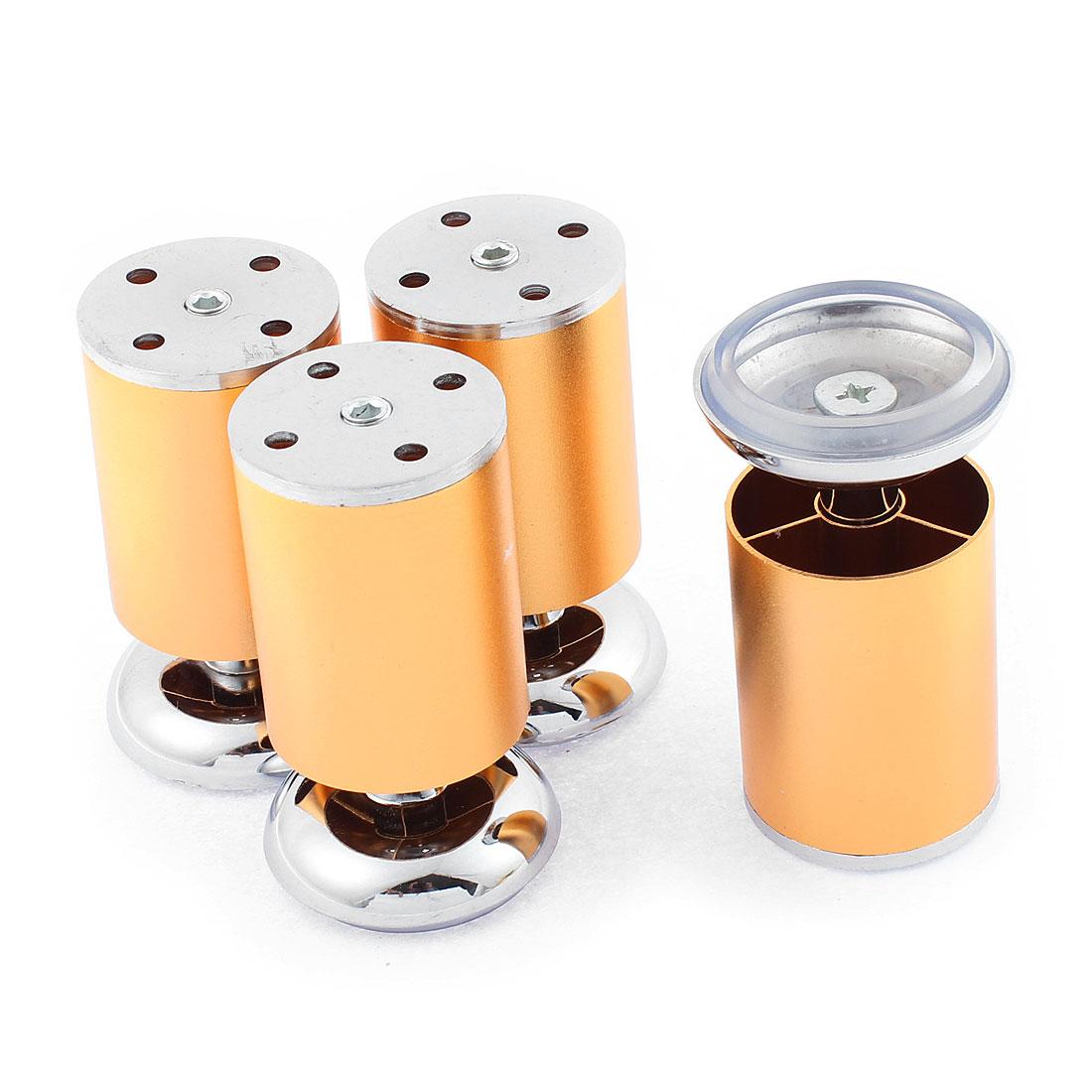 Cabinet Cylinder Shape Adjustable Plinth Leg Gold Tone 50mm Dia 4PCS