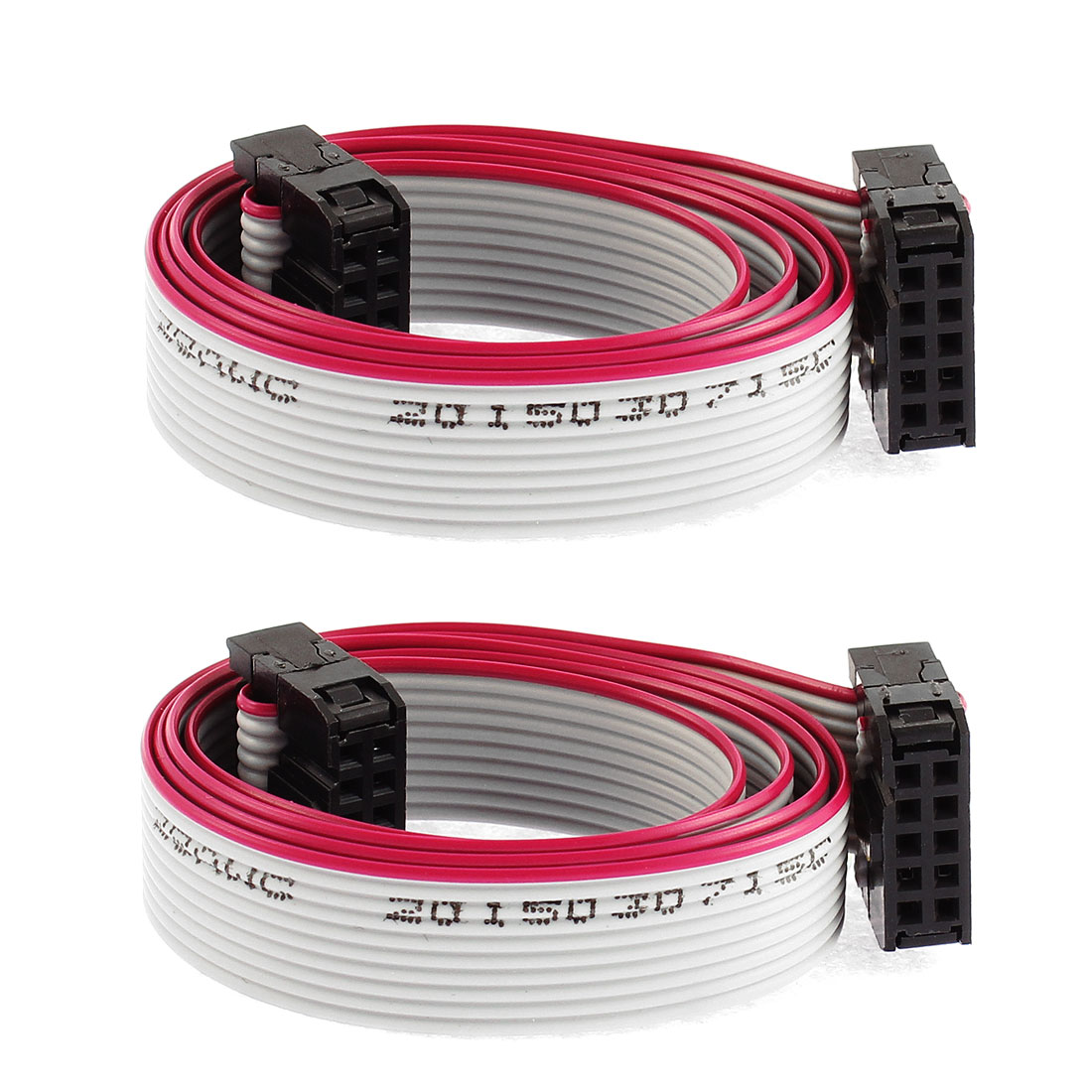 2 Pcs 10 Pin 10 Wire IDC Socket Flat Ribbon Cable 50cm Long