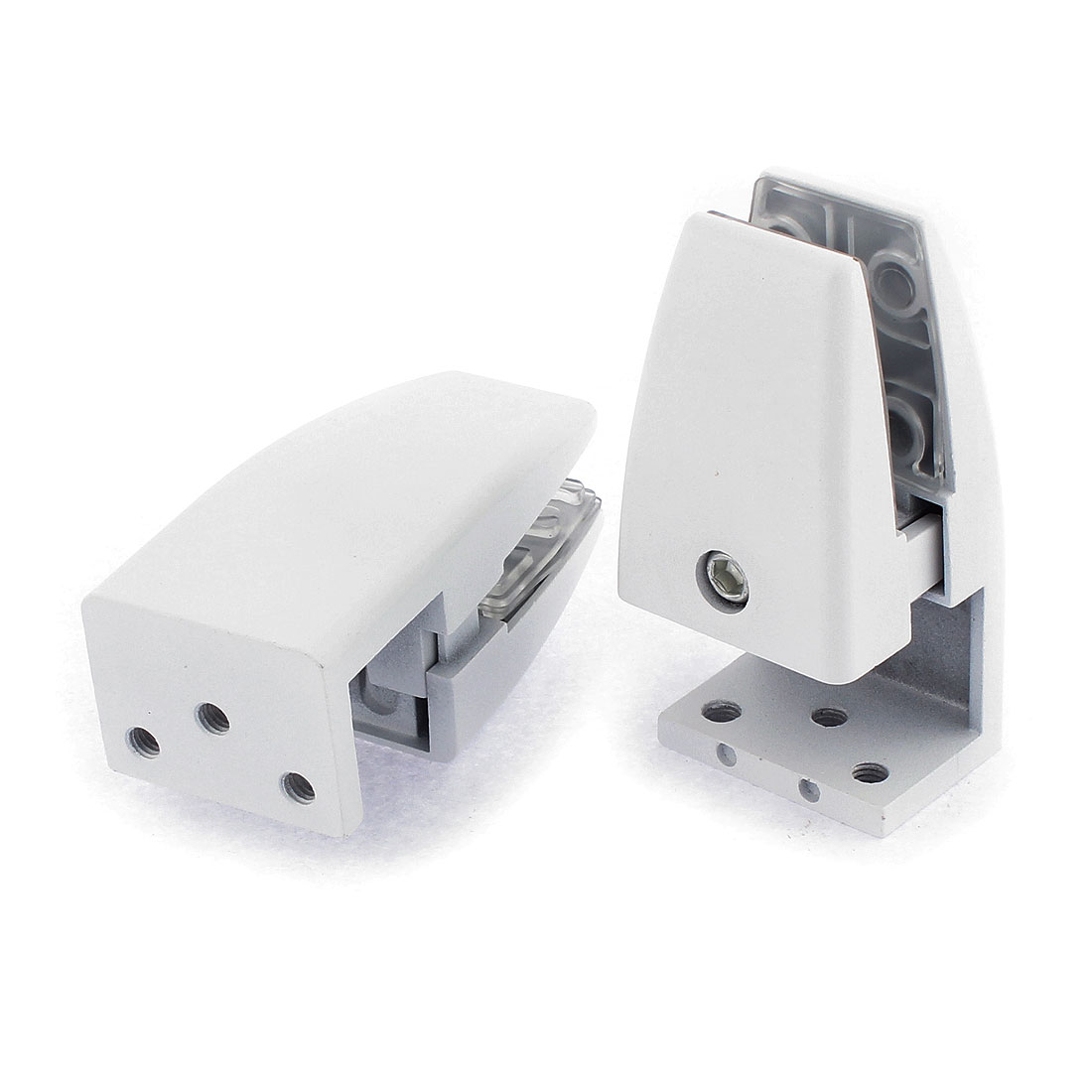 Aluminum Adjustable Glass Shelf Clip Holder Bracket White 2PCS