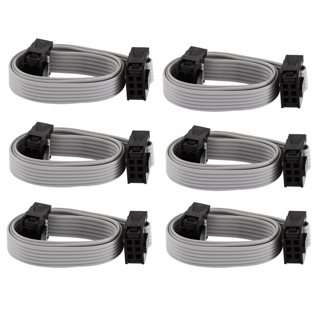 6 Pcs 2.54mm Pitch IDC Socket Flat Ribbon Cable 30cm Long