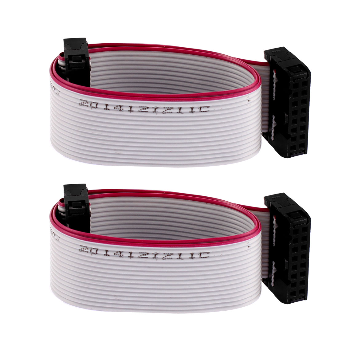 2.54mm Pitch 16 Pin 16 Wire IDC Connector Flat Ribbon Cable 30cm Long 2 Pcs