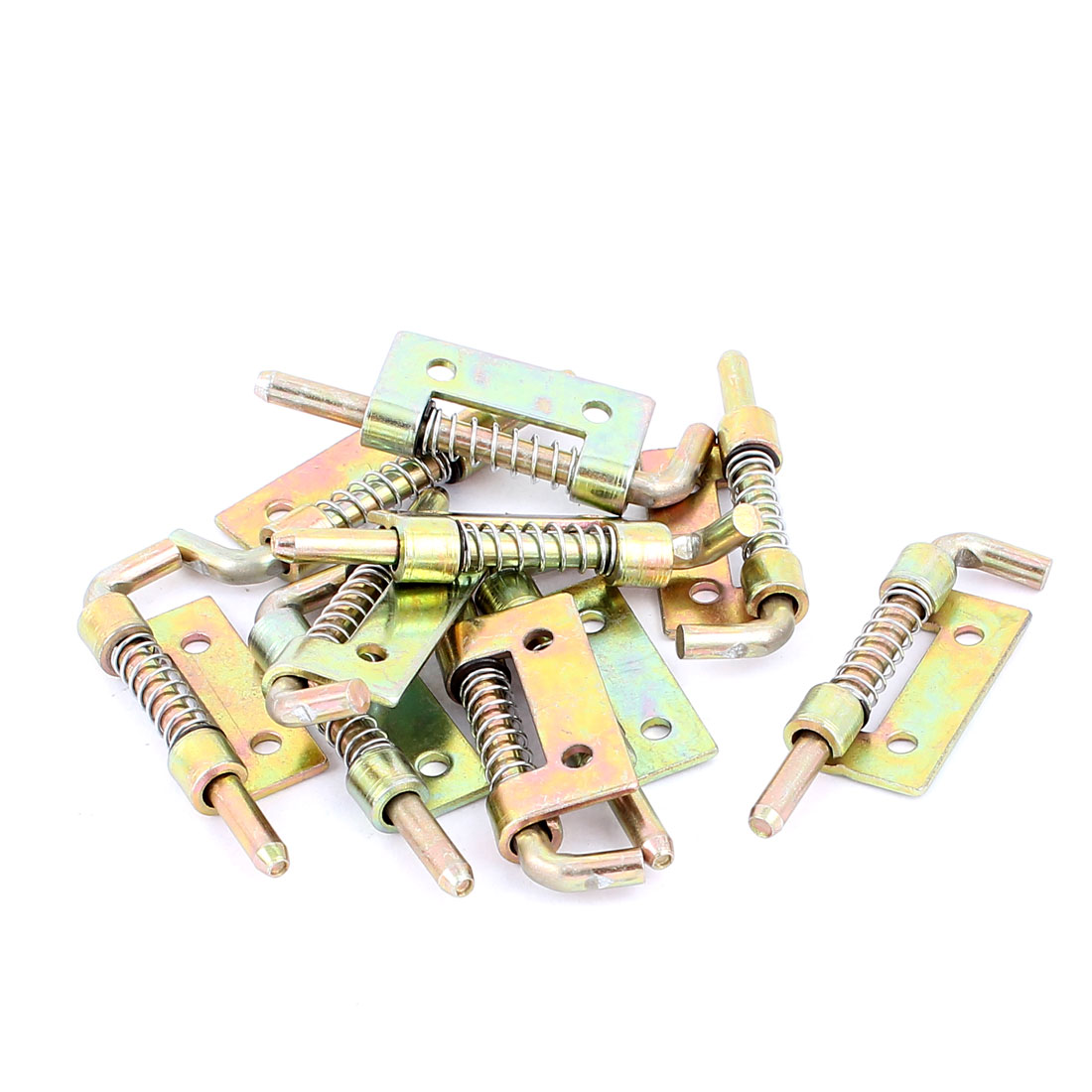 Spring Loaded Left Hand Brass Tone Metal Barrel Bolt Latch Hardware 10pcs