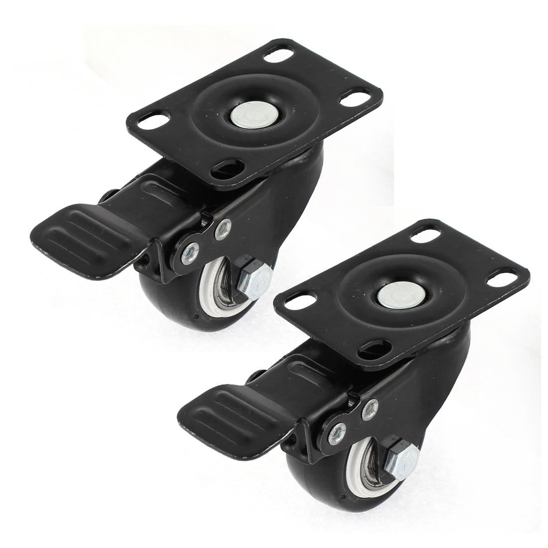 "2pcs 1.5"" Dia Wheels Top Plate Lock Brake Roller Swivel Casters Black"
