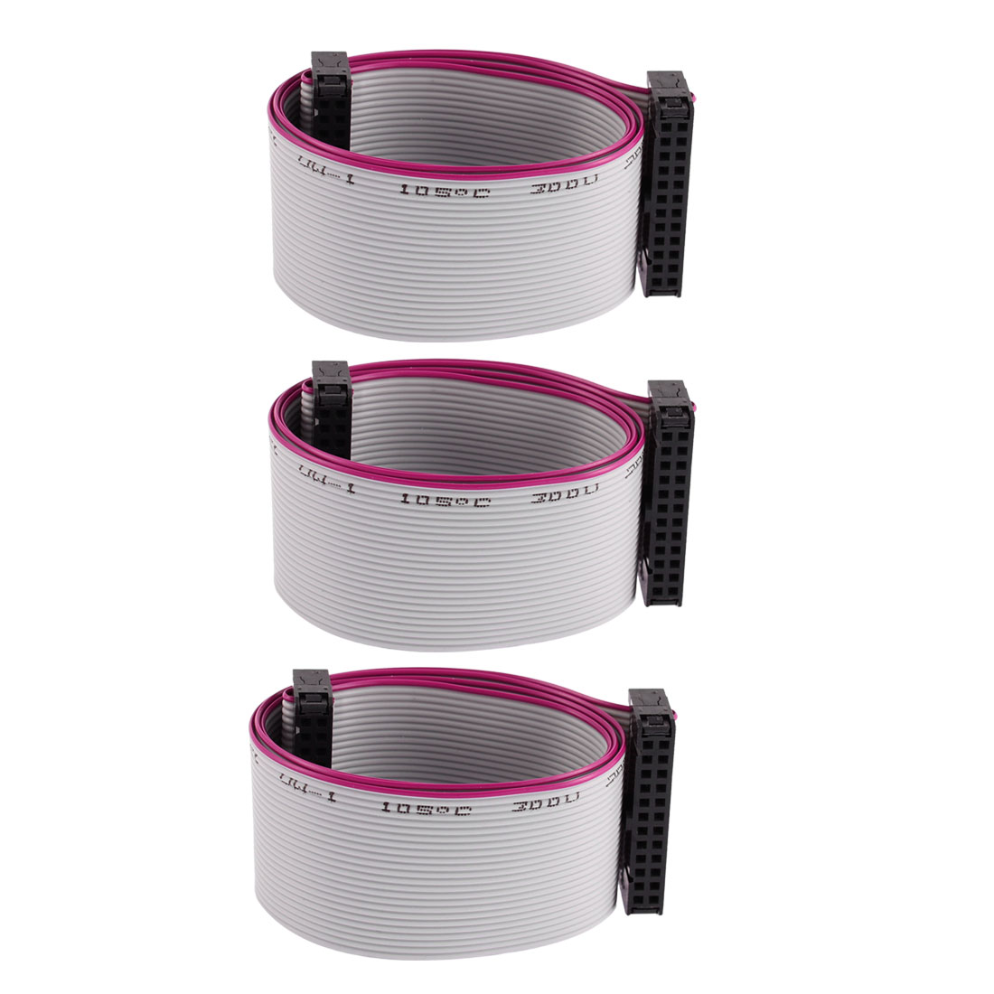 3 Pcs 2.54mm Pitch 24 Pin 24 Wire IDC Flat Ribbon Cable 50cm Length