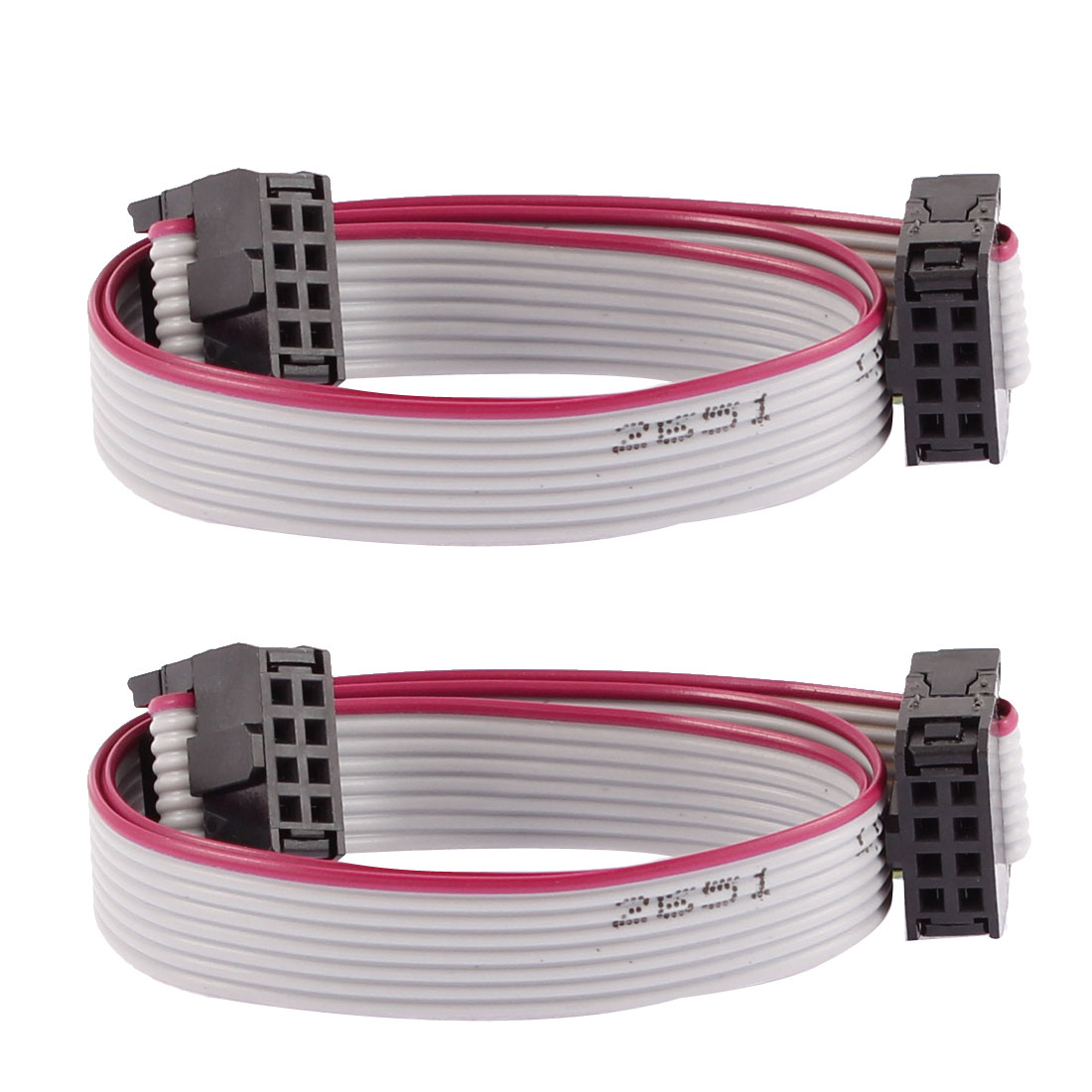 2.54mm Pitch 8 Pins 8 Wires F/F IDC Connector Flat Ribbon Cable 30cm Length 2pcs