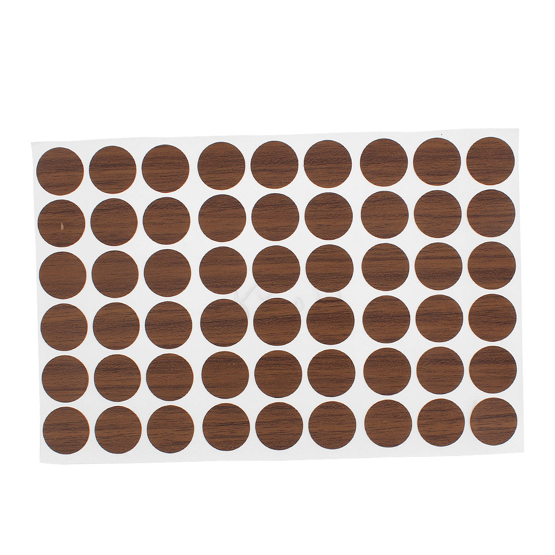 Plastic Self-adhesive Screw Covers Caps Stickers Brown 54 in 1 for 21mm Hole Dia