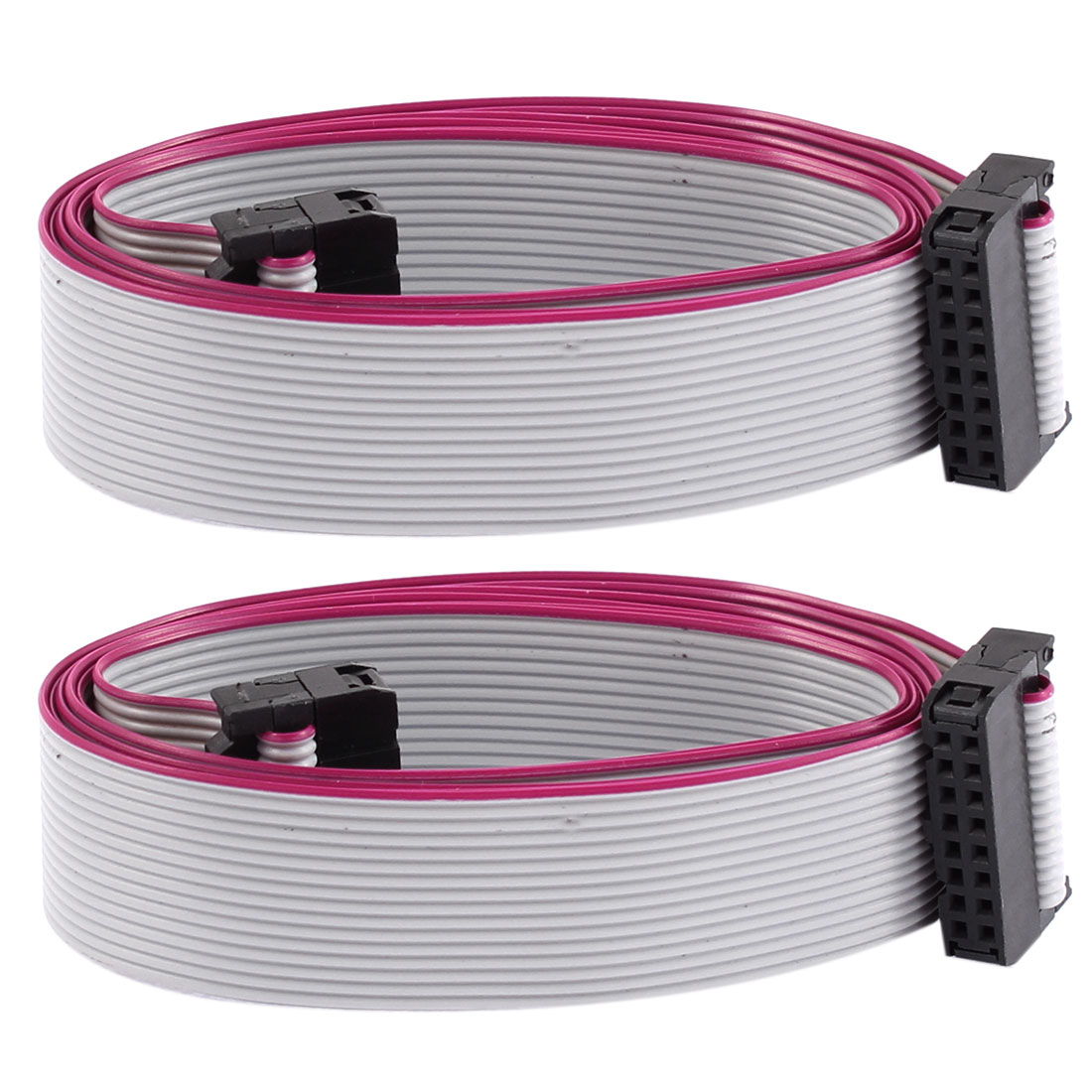 2.54mm Pitch 16 Pins 16 Wires F/F IDC Connector Flat Ribbon Cable 1 Meter 2pcs