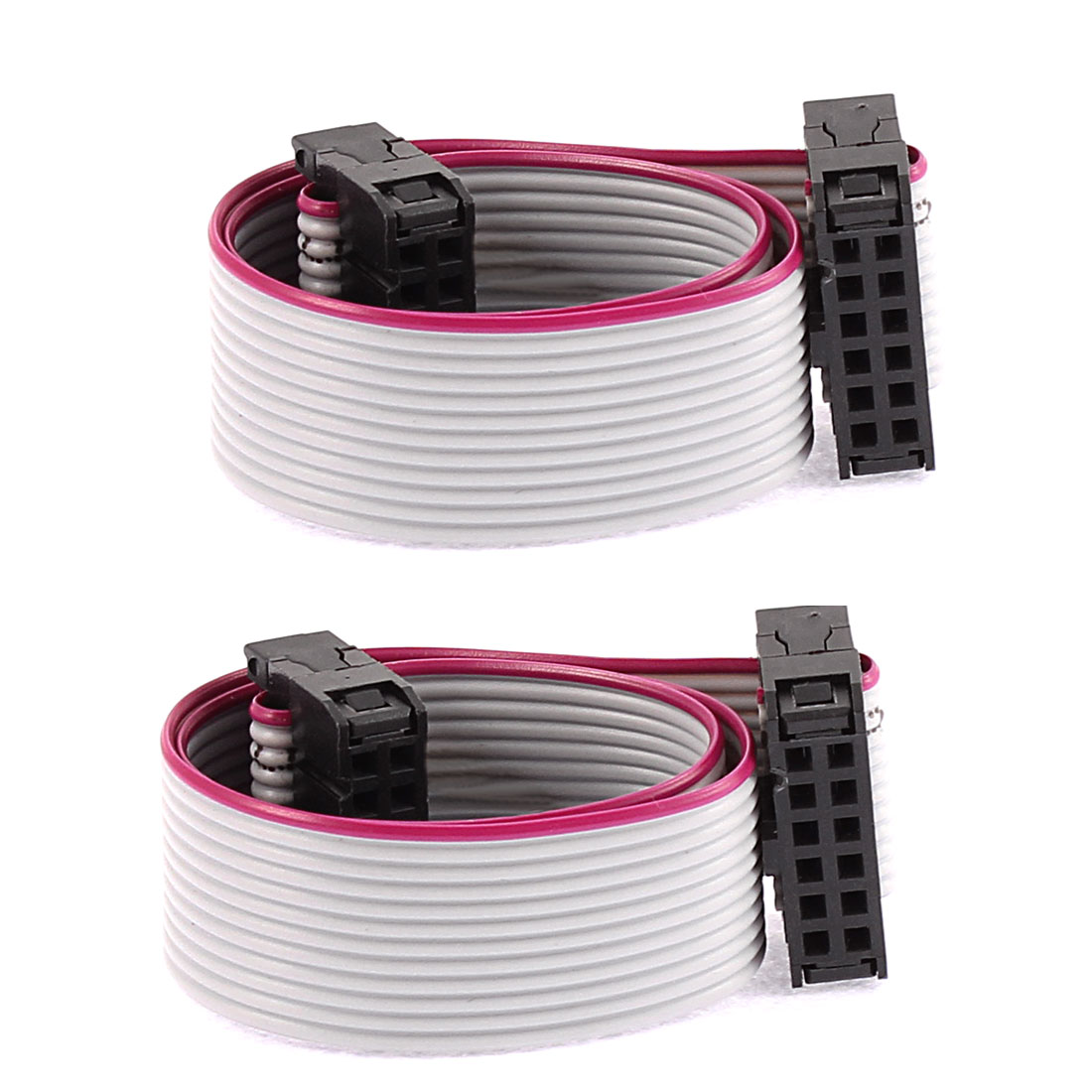 2.54mm Pitch 12 Pins 12 Wires F/F IDC Connector Flat Ribbon Cable 8 Inch 2 Pcs