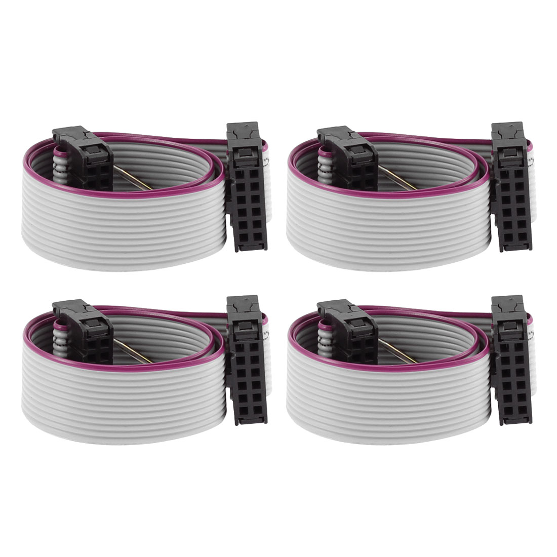 2.54mm Pitch 12 Pins 12 Wires F/F IDC Connector Flat Ribbon Cable 20cm 4pcs