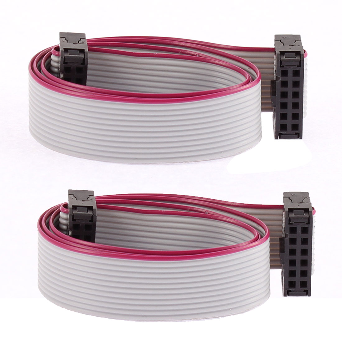 2.54mm Pitch 12 Pins 12 Wires F/F IDC Connector Flat Ribbon Cable 40cm 2 Pcs
