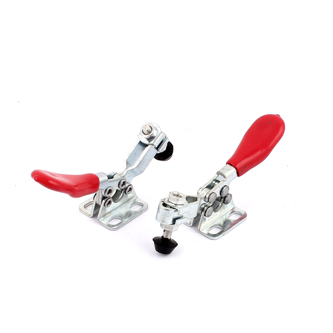 2pcs 201 Horizontal Hold Quick Toggle Clamp Hand Tool Release Red Silver Tone