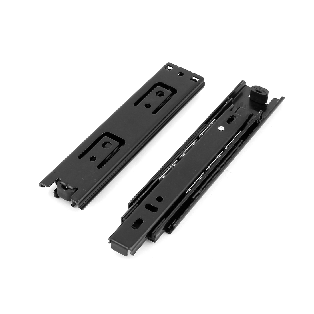 Telescopic 3 Sections Black Drawer Slide Runners Ball Bearing Rails 2pcs