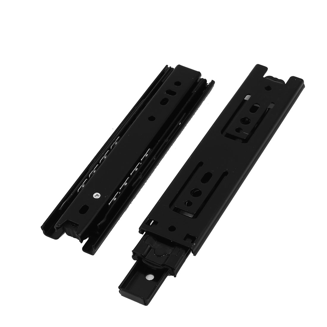 "6"" Black Metal Ball Bearing Telescopic Drawer Slide Rail Brackets 2pcs"