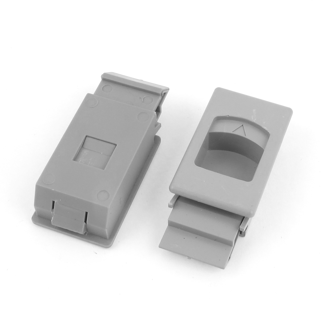 Window Door Gray Plastic Inside Sliding Pull Rectangle Latch Fittings 2pcs