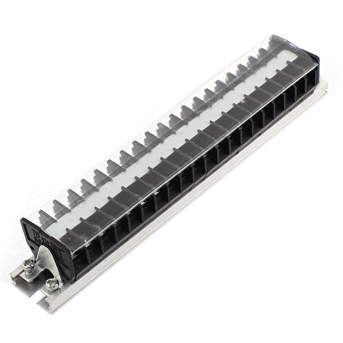 TD-1520 660V 15A Rail Base Dual Row 20 Positions Screw Barrier Terminal Strip