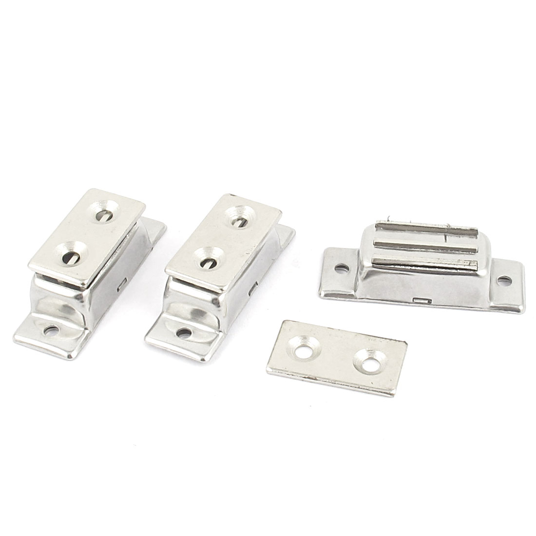 Cabinet Cupboard Wardrobe Door Magnetic Catch Latch Silver Tone 3pcs