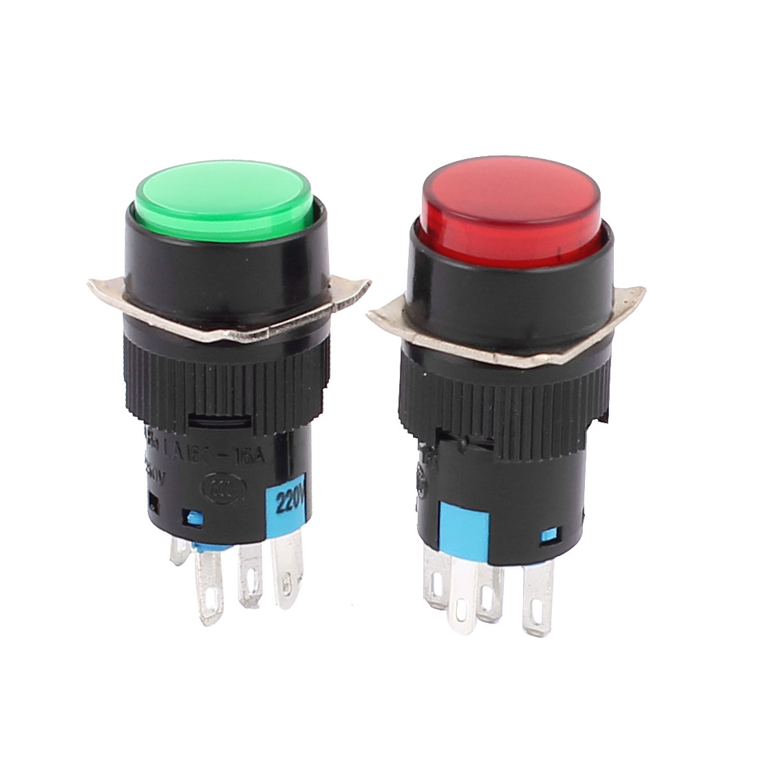 AC 250V 5A Panel Mount Self-locking Push Button Switch Controller Starter 2pcs