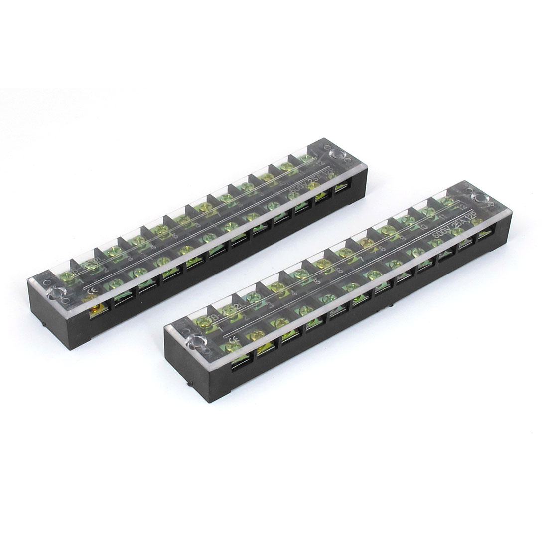 600V 25A 12 Position 12P Double Rows Cable Wiring Barrier Screw Terminal Strip Block 2pcs
