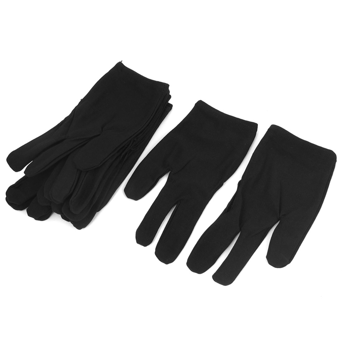 6 Pairs Black Nylon Elastic Shooter Billiard 3 Fingers Gloves for Pool Cue Stick