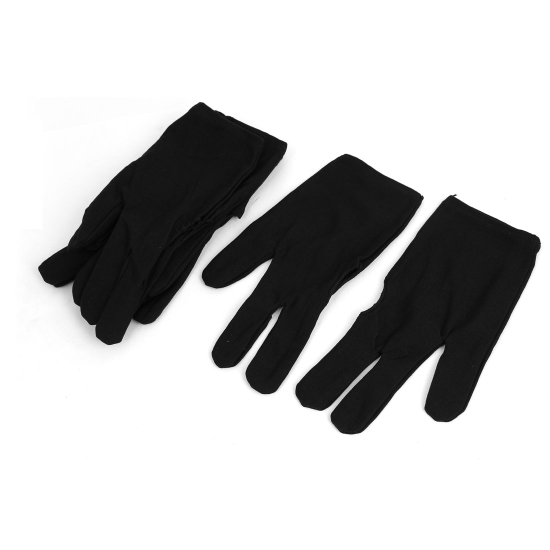 4 Pairs Black Elastic Sport Billiard 3 Fingers Gloves for Pool Cue