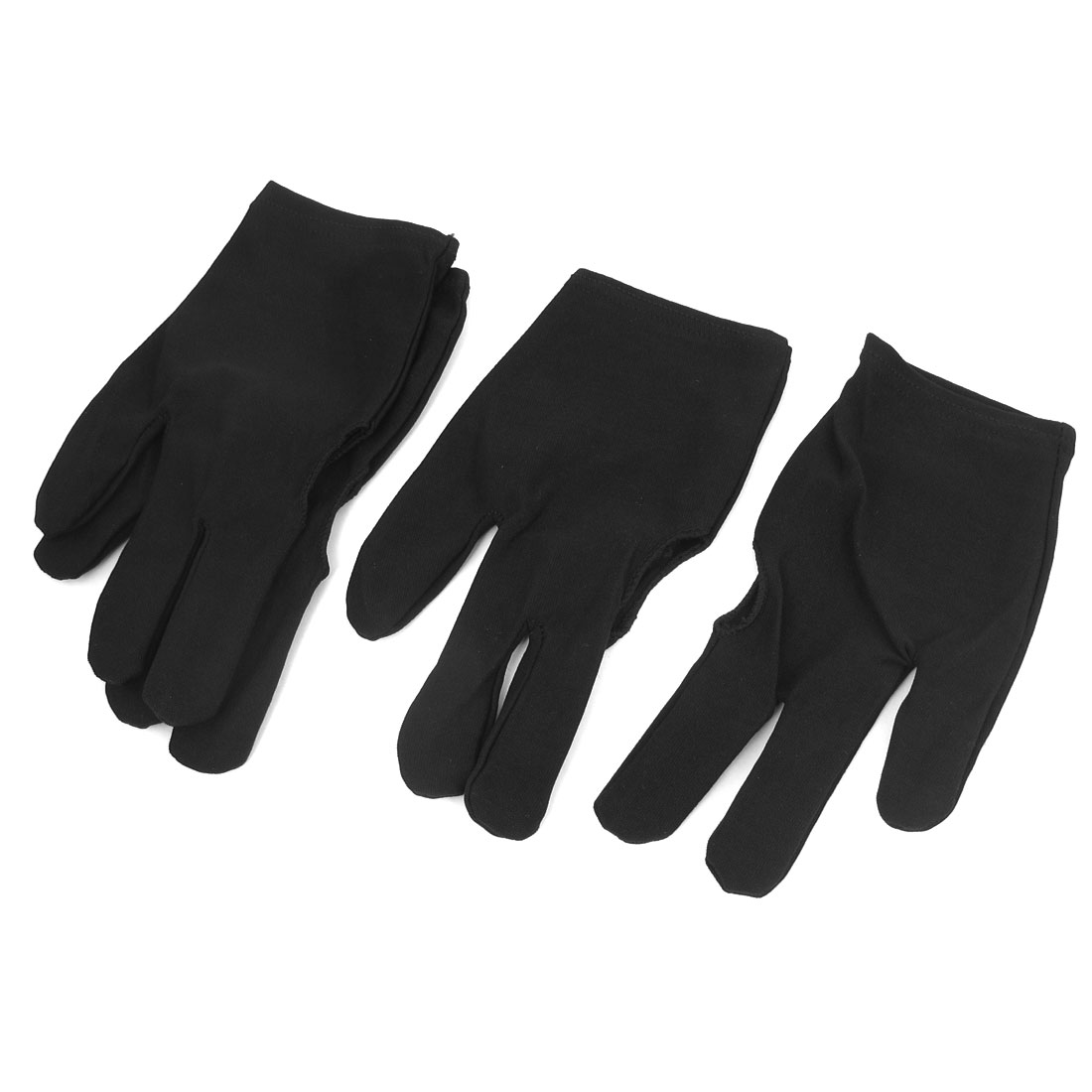 2 Pairs Black Stretch Sport Billiard 3 Fingers Gloves for Pool Cue