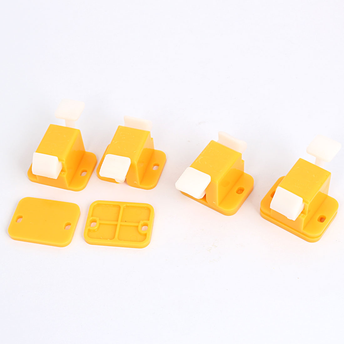 4pcs Yellow White Plastic Prototype Test Fixture Jig Edge Latch w Screws for PCB Board