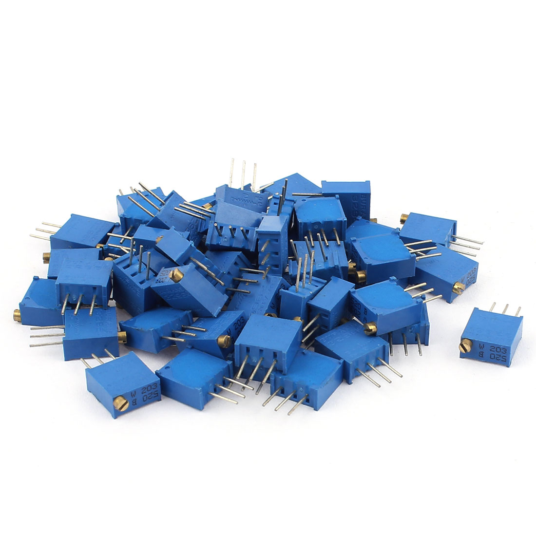 50Pcs 3296W-203 20K Ohm Resistor Trim Pot Potentiometer Trimmer Blue