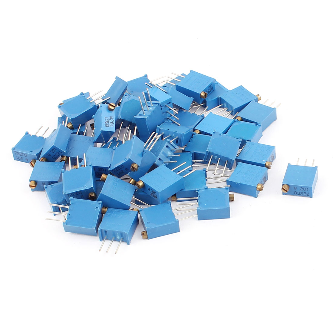 50Pcs 3296W-201 200 Ohm Resistor Trim Pot Potentiometer Trimmer Blue
