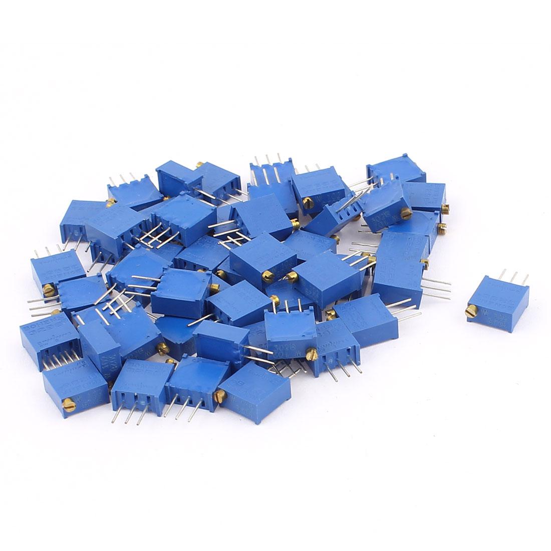 50Pcs 3296W-102 1K Ohm Resistor Trim Pot Potentiometer Trimmer Blue