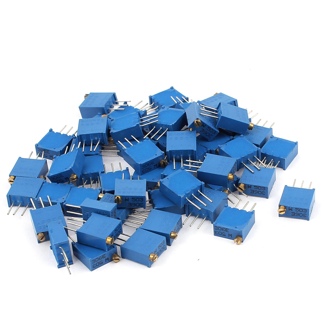 50Pcs 3296W-503 50K Ohm Resistor Trim Pot Potentiometer Trimmer Blue