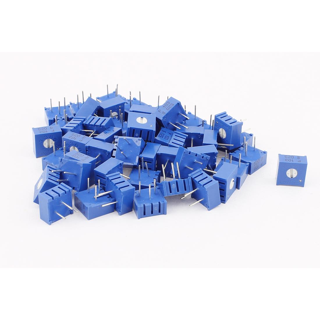 50Pcs Top Adjustment Trimmer Pot Potentiometer Resistors 10K Ohm 3386P