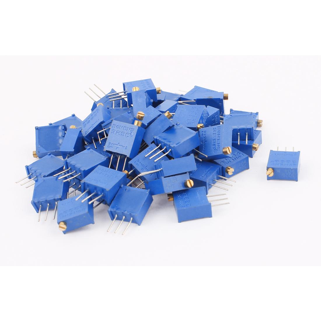 50Pcs 3296W-104 100K Ohm Resistor Trim Pot Potentiometer Trimmer Blue
