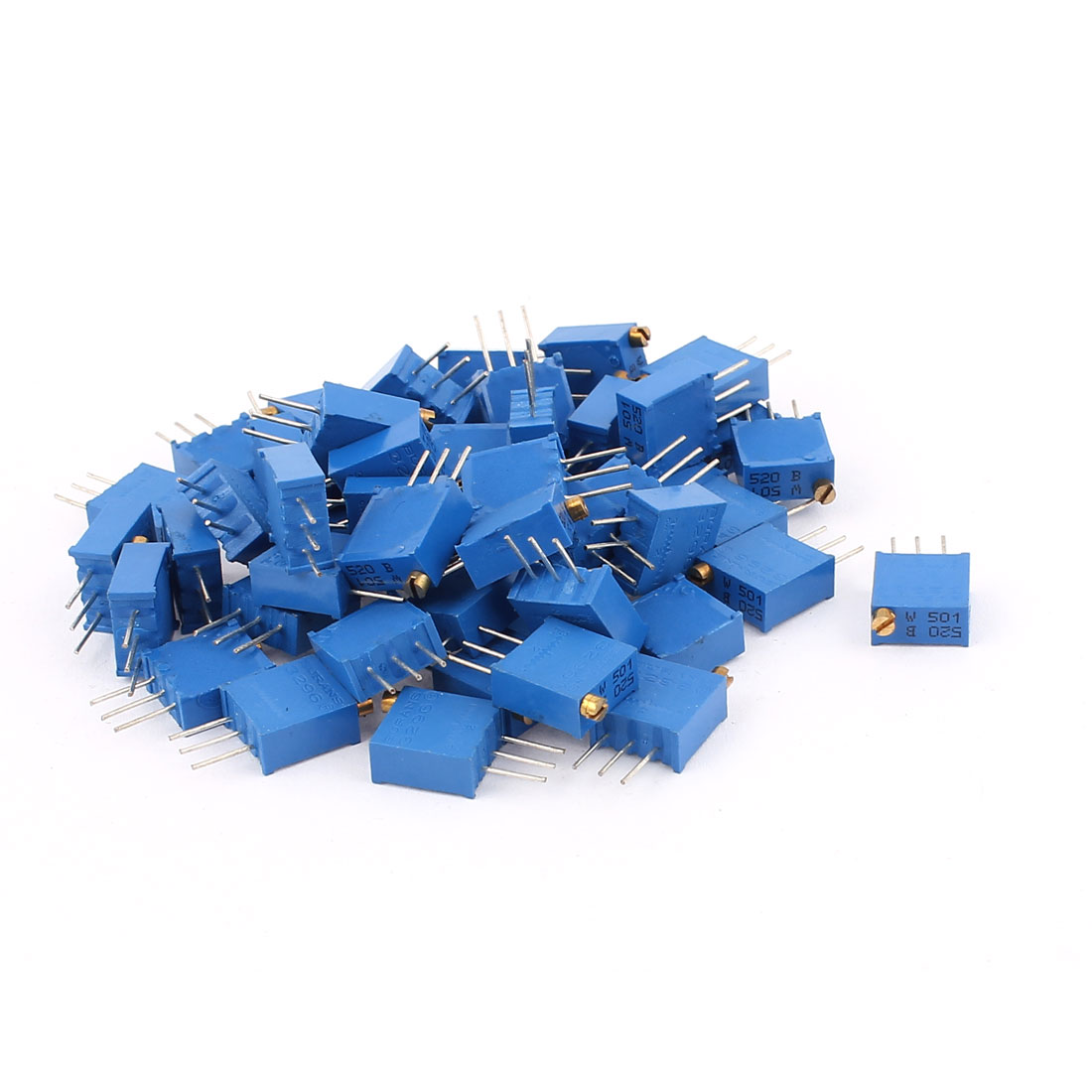 50Pcs 3296W-501 500 Ohm Resistor Trim Pot Potentiometer Trimmer Blue