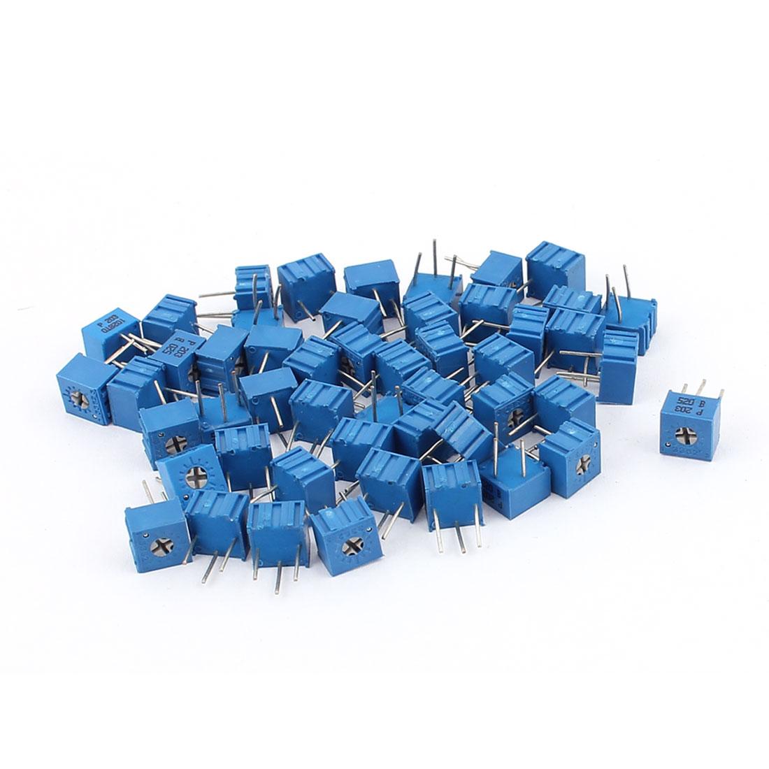 50Pcs Adjustable Potentiometer Trimmer Variable Resistor 3362P-203 20K Ohm