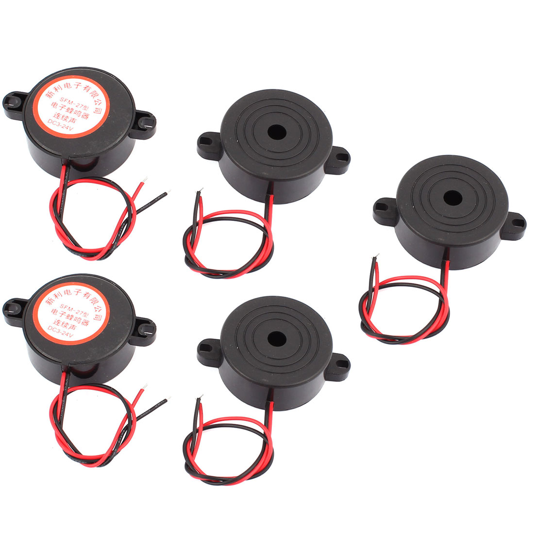 DC 3-24V Wired Industrial Continuous Sound Electronic Buzzer Black 5Pcs