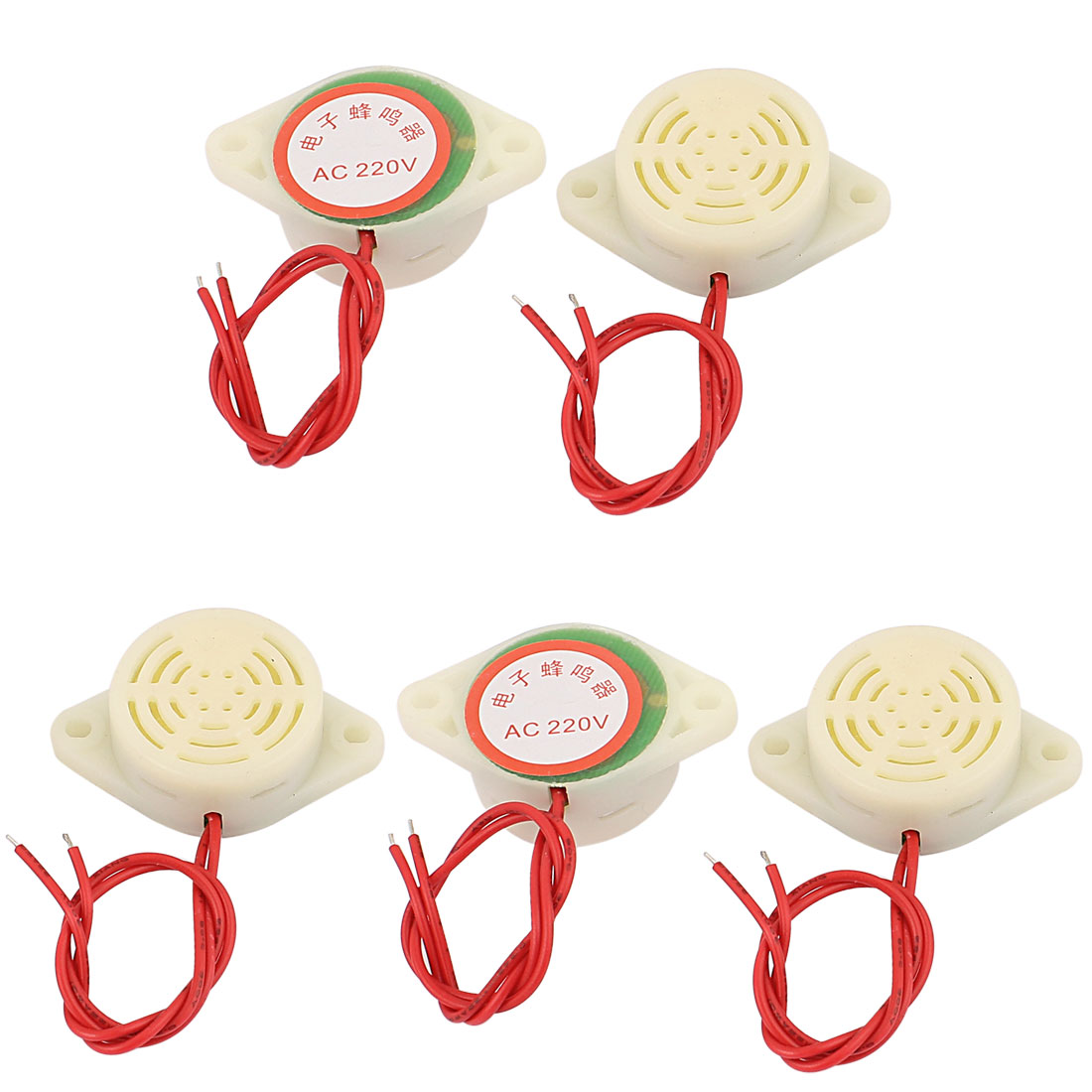 AC 220V Wired Industrial Shaking Sound Electronic Buzzer White 5Pcs