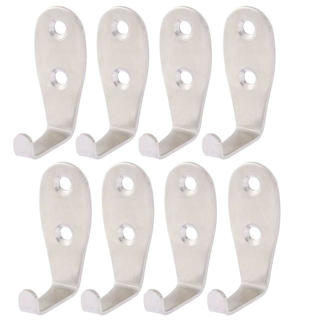 Hat Coat Towel L Shaped Wall Mounted Single Hook Hanger 2mm Thickness 8PCS