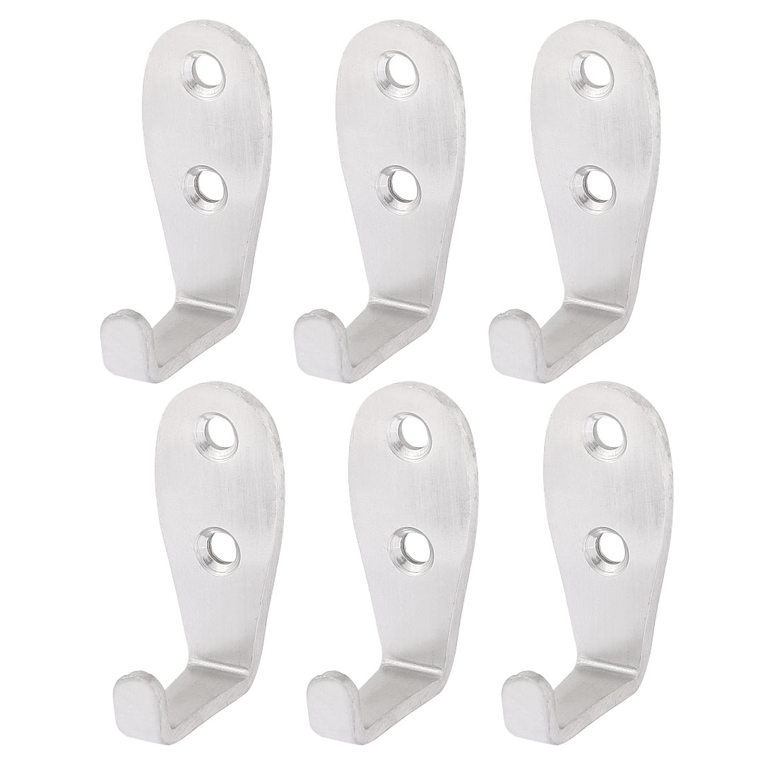 Home Bathroom Stainless Steel Wall Mounted Coat Hook Hanger Holder 6pcs
