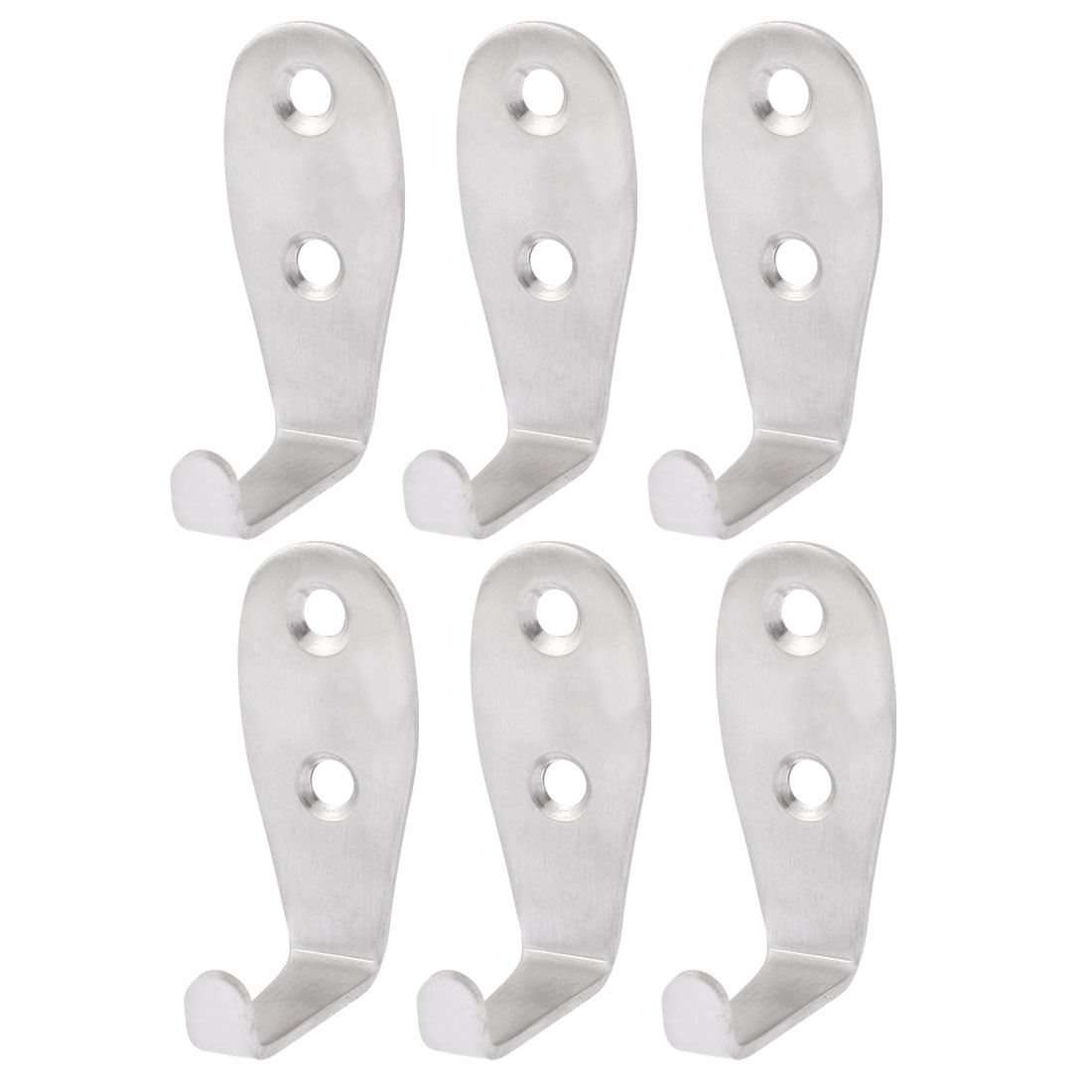 Bathroom Towel Clothes Hat Scarf Wall Mount Hook Hanger 2mm Thickness 6PCS