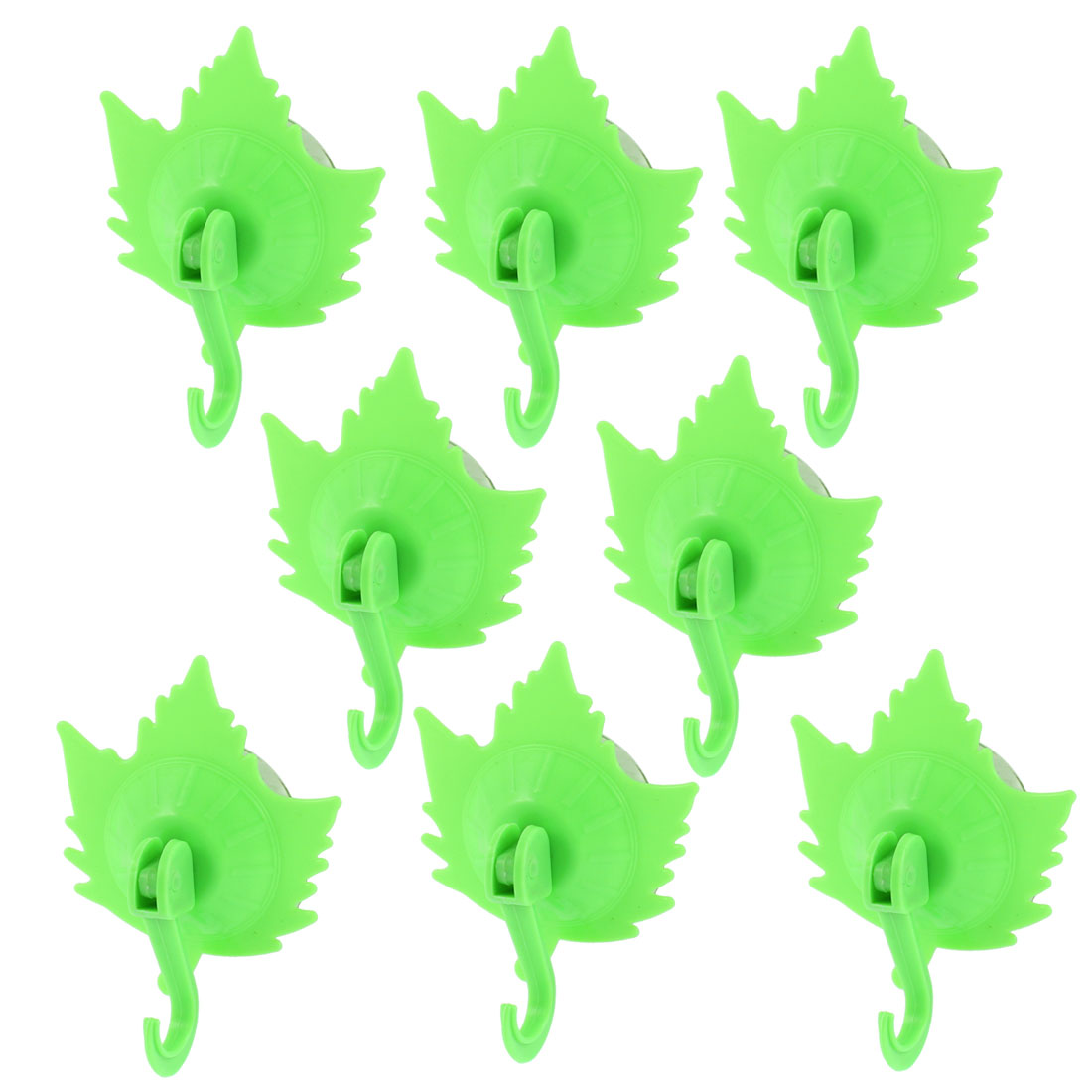 Home Clothes Maple Leaf Shaped Suction Cup Hooks Wall Hangers Green 8pcs