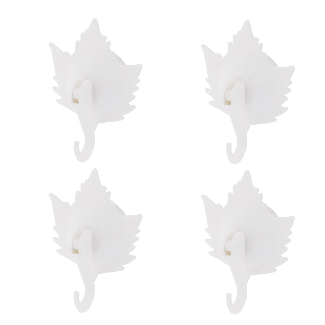 Household Towel Maple Leaf Design Suction Cup Hooks Wall Hangers White 4pcs